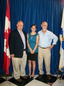 West Nova MP Greg Kerr, Southwest Nova Biosphere Reserve Association project coordinator Maegan Power-Noble, and association chair Bob Maher