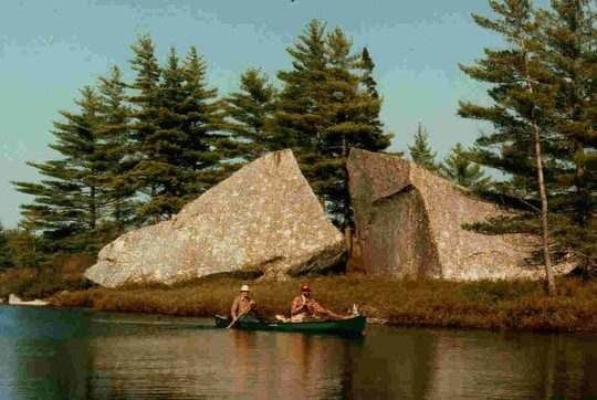 Twin Lakes Stream: Glacial erratics at stream bank, representative of many huge boulders in area. Photo Credit: Jim Todd