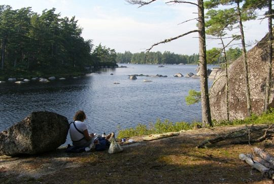 Campsite on the south side of Sisketch Lake, on a large granite outcrop. Photo credit: Jim Todd