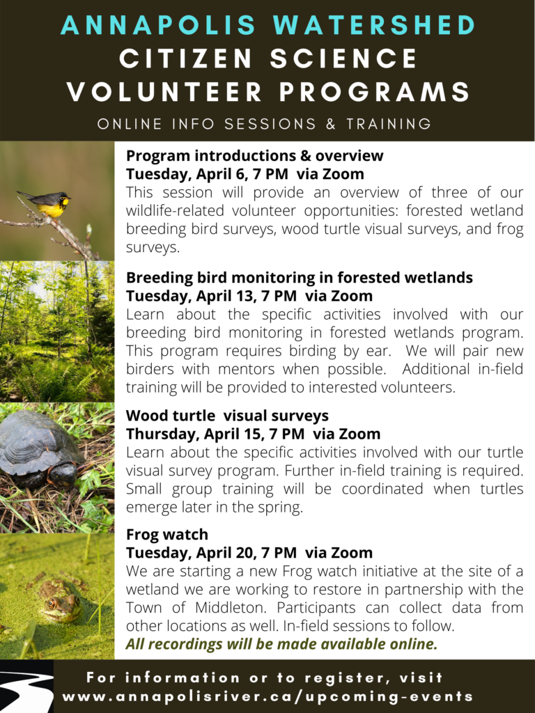 Annapolis Watershed, Citizen Science Volunteer Programs, April 2021