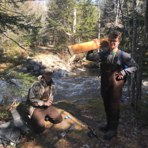 Mason and Ethan, Annapolis West Education Center co-op students (2019), angling on the Round Hill River.