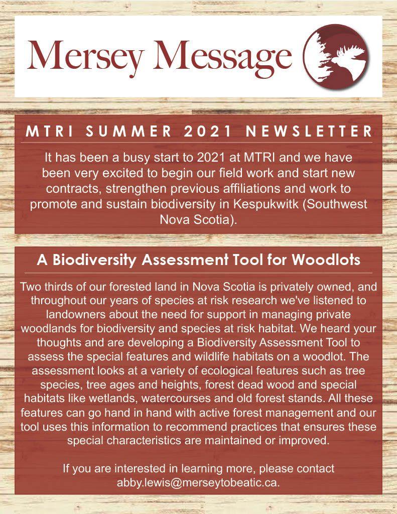 MTRI Summer Newsletter, Intro Mersey Message